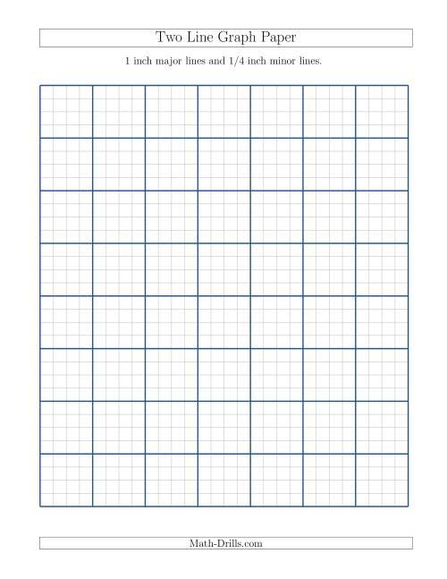 The Two Line Graph Paper with 1 inch Major Lines and 1/4 inch Minor Lines (A) Math Worksheet