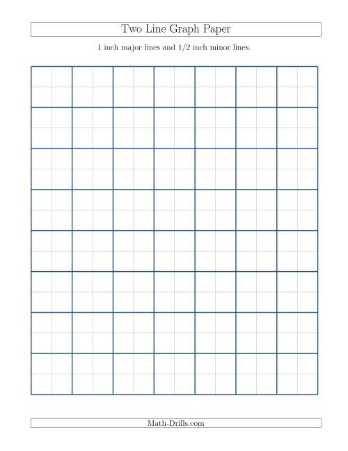 The Two Line Graph Paper with 1 inch Major Lines and 1/2 inch Minor Lines (A) Math Worksheet