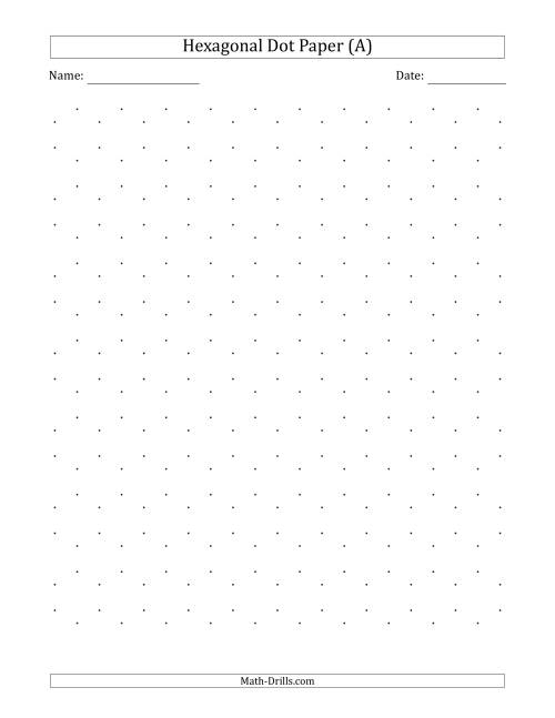The 1 cm Hexagonal Dot Paper (Black) Math Worksheet