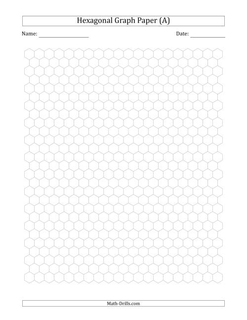 The 0.5 cm Hexagonal Graph Paper (Gray) Math Worksheet