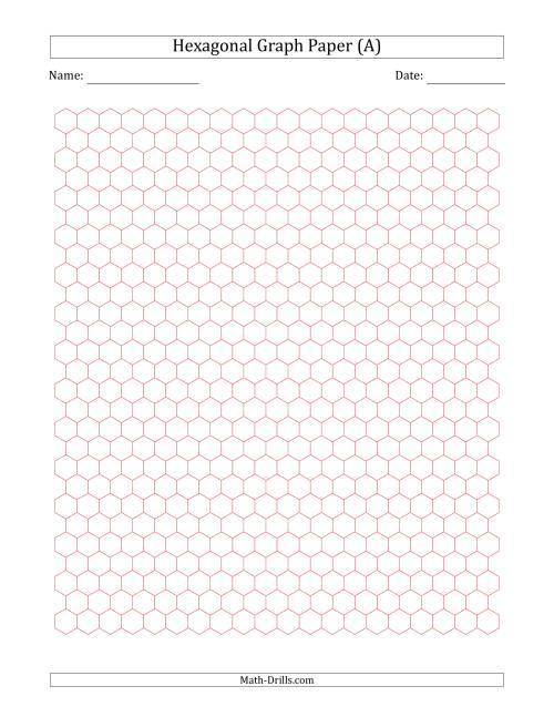 The 0.5 cm Hexagonal Graph Paper (Red) Math Worksheet