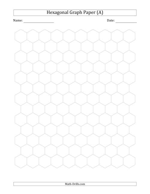 The 1 cm Hexagonal Graph Paper (Gray) Math Worksheet