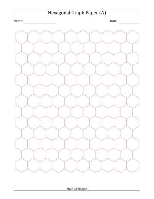 1 cm Hexagonal Graph Paper (Red)