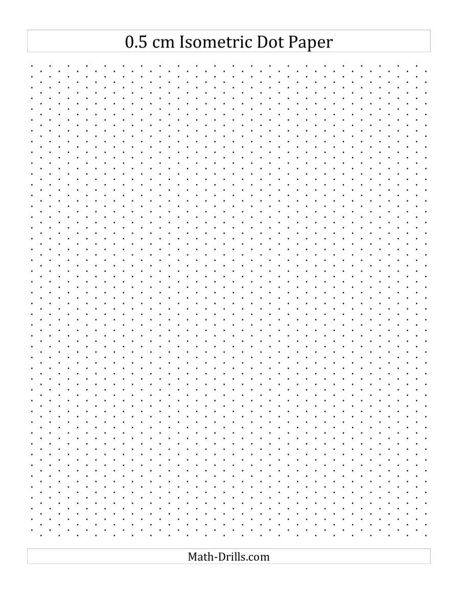 The 0.5 cm Isometric Dot Paper (Portrait) (A) Math Worksheet