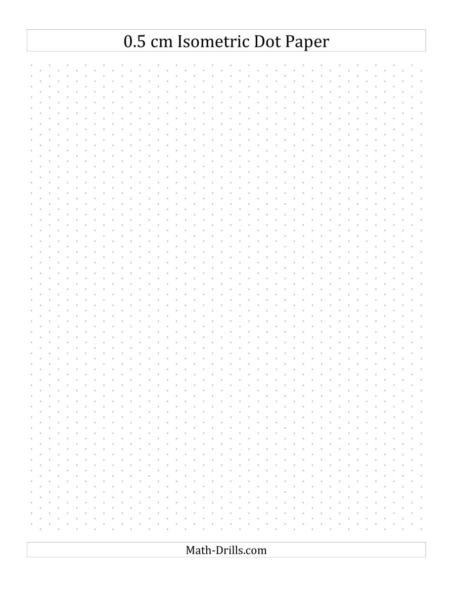 The 0.5 cm Isometric Dot Paper (Portrait) (B) Math Worksheet