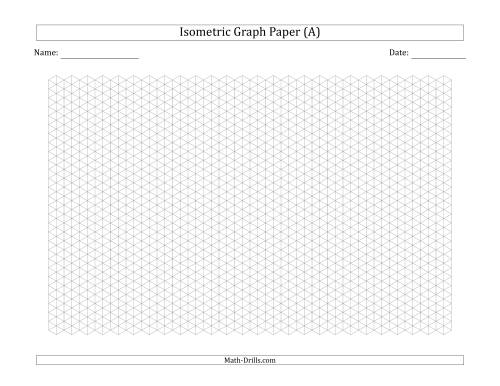 The 0.5 cm Isometric Graph Paper (Landscape) (Gray) Math Worksheet