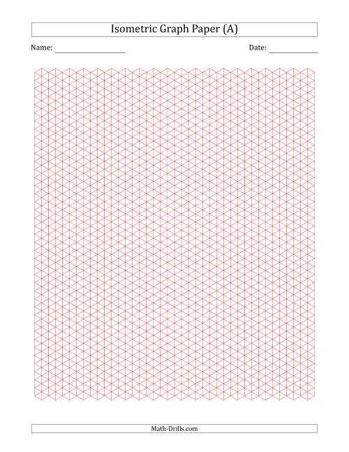 The 0.5 cm Isometric Graph Paper (Red) Math Worksheet