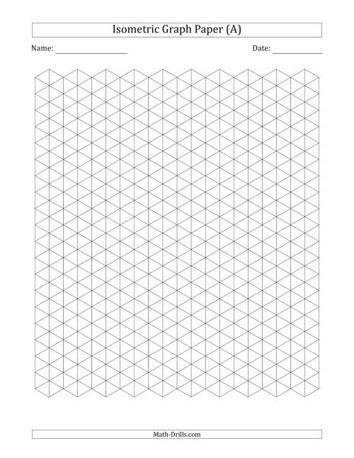 The 1 cm Isometric Graph Paper (Black) Math Worksheet