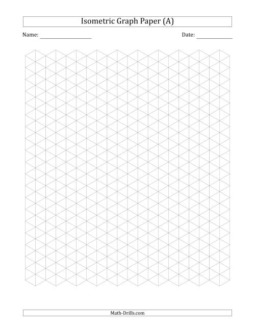 The 1 cm Isometric Graph Paper (Gray) Math Worksheet