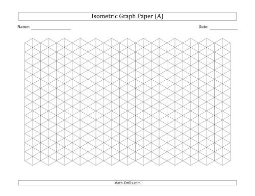 The 1 cm Isometric Graph Paper (Landscape) (Black) Math Worksheet