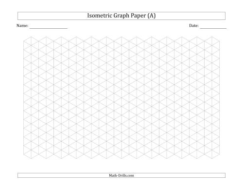 The 1 cm Isometric Graph Paper (Landscape) (Gray) Math Worksheet