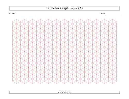 The 1 cm Isometric Graph Paper (Landscape) (Red) Math Worksheet