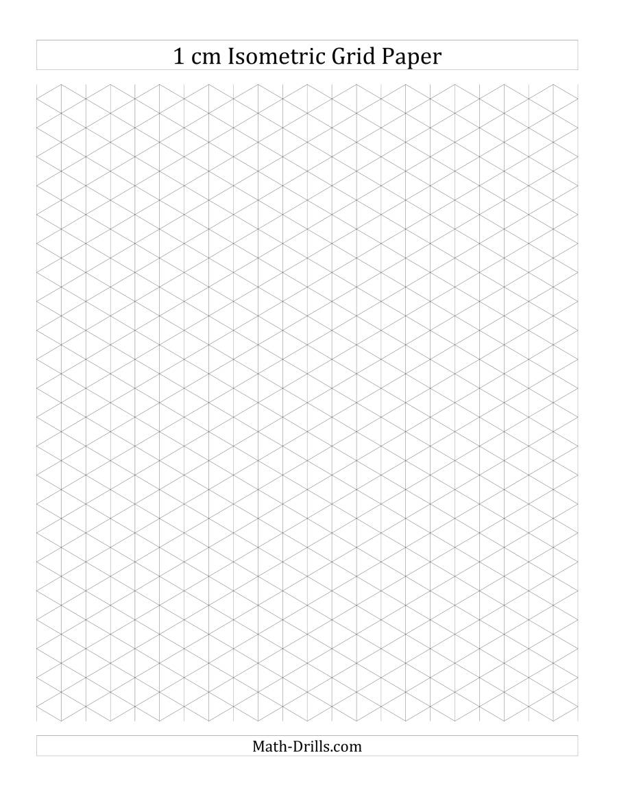 The 1 cm Isometric Grid Paper (Portrait) (A) Math Worksheet