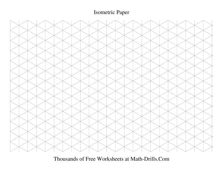 The Isometric Grid    Large Landscape Math Worksheet