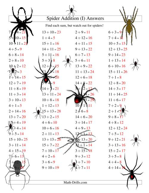 The Spider Addition Facts to 30 (I) Math Worksheet Page 2