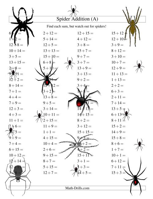 The Spider Addition Facts to 30 (All) Math Worksheet