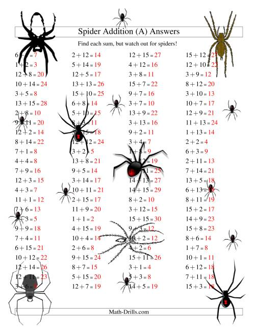 The Spider Addition Facts to 30 (All) Math Worksheet Page 2