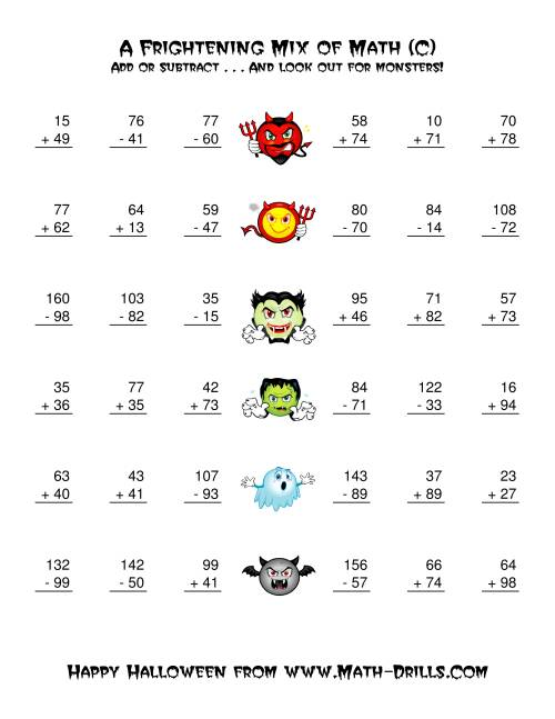 The Two-Digit Addition and Subtraction with Monsters (C) Math Worksheet