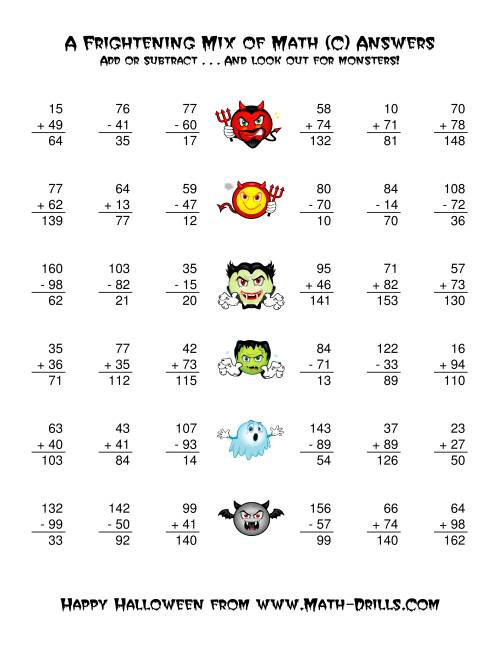 The Two-Digit Addition and Subtraction with Monsters (C) Math Worksheet Page 2