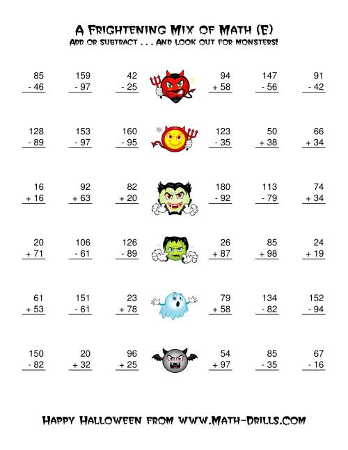 The Two-Digit Addition and Subtraction with Monsters (E) Math Worksheet