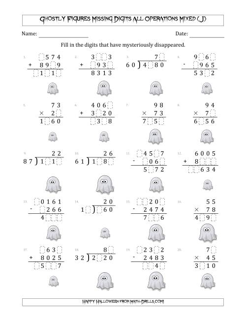 The Ghostly Figures Missing Digits All Operations Mixed (Harder Version) (J) Math Worksheet