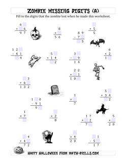 halloween math worksheets halloween missing digits worksheets