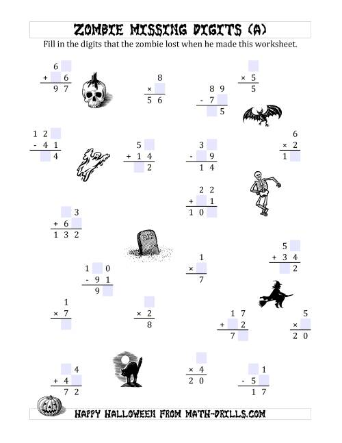 zombie missing digits a halloween math worksheets. Black Bedroom Furniture Sets. Home Design Ideas