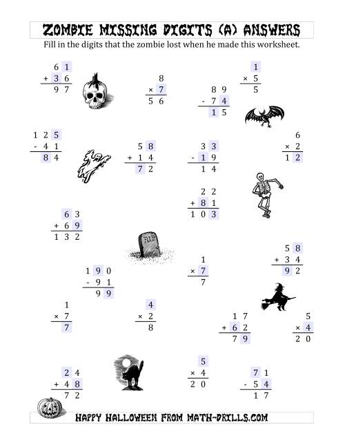 The Zombie Missing Digits (A) Math Worksheet Page 2