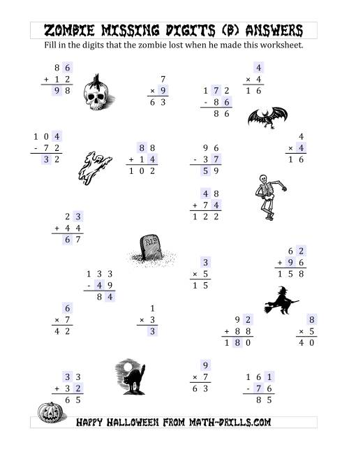 The Zombie Missing Digits (B) Math Worksheet Page 2
