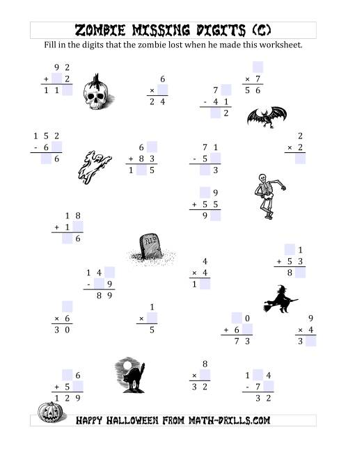 The Zombie Missing Digits (C) Math Worksheet