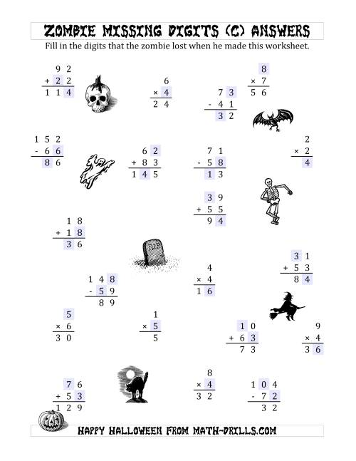 The Zombie Missing Digits (C) Math Worksheet Page 2