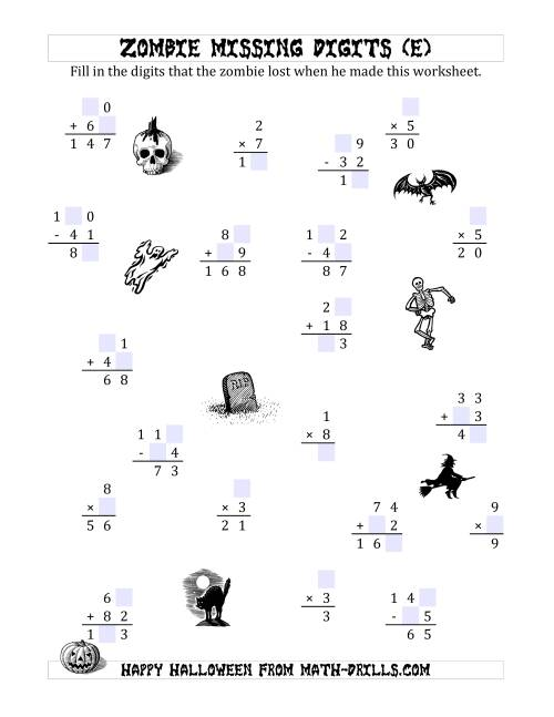The Zombie Missing Digits (E) Math Worksheet