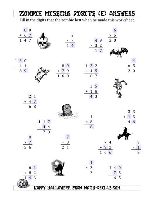 The Zombie Missing Digits (E) Math Worksheet Page 2