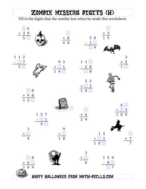 The Zombie Missing Digits (H) Math Worksheet