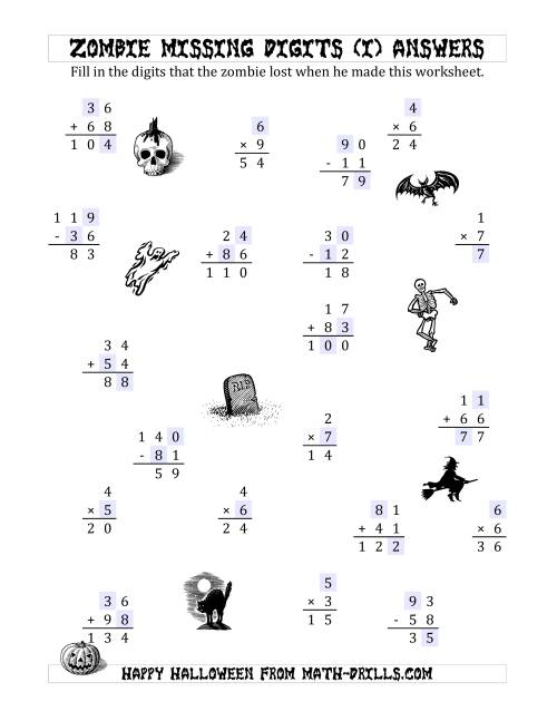 The Zombie Missing Digits (I) Math Worksheet Page 2