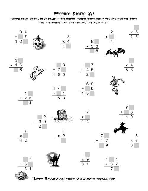 The Zombie Missing Digits (Old) Math Worksheet