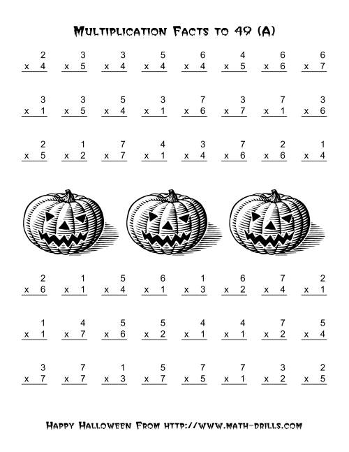 Free Worksheet Halloween Multiplication Worksheets all operations multiplication facts to 49 a halloween math the worksheet