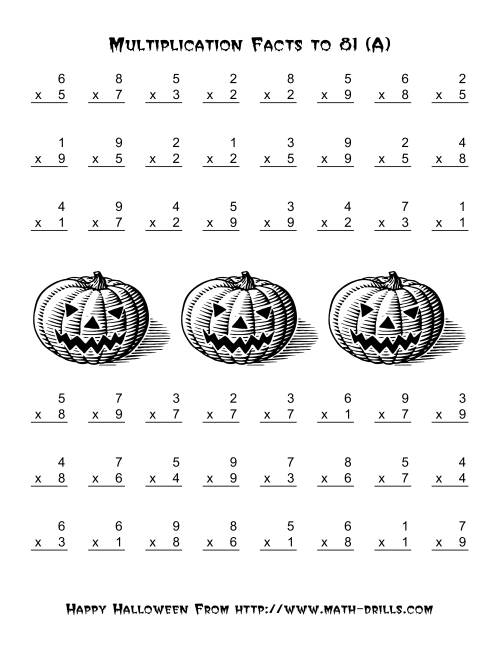 all operations multiplication facts to 81 a halloween math worksheet. Black Bedroom Furniture Sets. Home Design Ideas