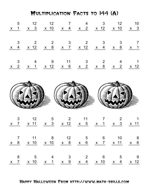 math worksheet : all operations  multiplication facts to 144 a halloween math  : Math Multiplication Facts Worksheet