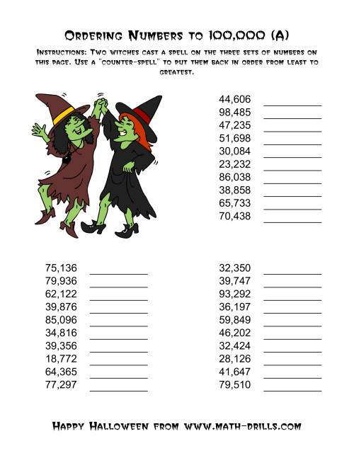 The Ordering Halloween Witches' Enchanted Numbers to 100,000 (Old) Math Worksheet