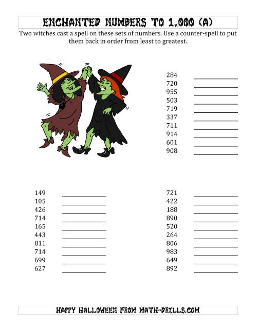 The Ordering Halloween Witches' Enchanted Numbers to 1,000 (A) Math Worksheet