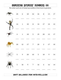 Ordering Halloween Spiders' Number Sets to 20