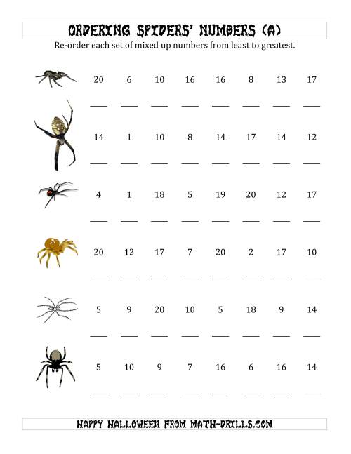 math worksheet : ordering halloween spiders  number sets to 20 a halloween math  : Halloween Math Worksheets