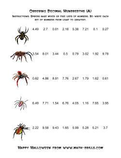 Spiders Ordering Decimal Hundredths (A)