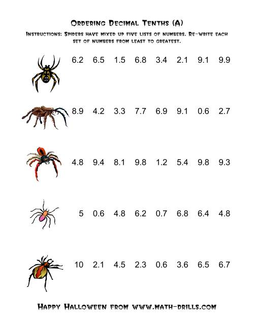 The Spiders Ordering Decimal Tenths (A) Math Worksheet