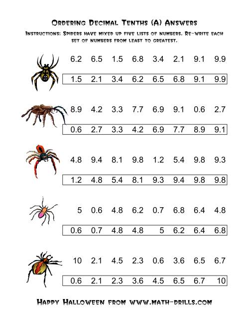 The Spiders Ordering Decimal Tenths (A) Math Worksheet Page 2