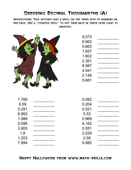 The Witches Ordering Decimal Thousandths (A) Math Worksheet