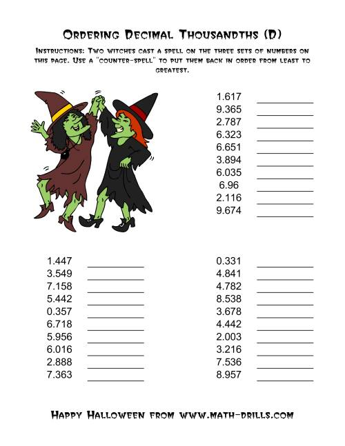 The Witches Ordering Decimal Thousandths (D) Math Worksheet