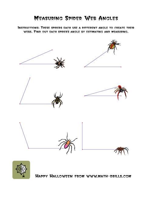 measuring spider web angles halloween math worksheet. Black Bedroom Furniture Sets. Home Design Ideas