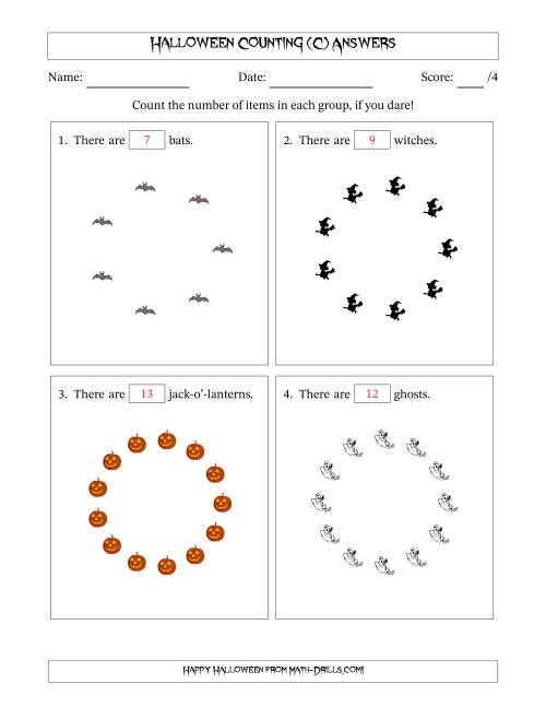 The Counting Halloween Pictures in Circular Patterns (C) Math Worksheet Page 2